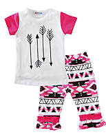 Girls' Geometric Sets Cotton Summer Short Sleeve Clothing Set for Kids Girls 2pcs Outfits Fashion New 2017 Arrow Girls Clothes
