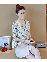 Women's Daily Soak Off Summer Blouse Skirt Suits,Floral Print Round Neck 3/4 Length Sleeve