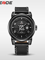 WEIDE Men's Dress Watch Fashion Watch Japanese Quartz Water Resistant / Water Proof Genuine Leather Band Luxury Cool Casual Black