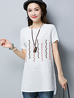 Women's Casual/Daily Simple T-shirt,Embroidery Round Neck Short Sleeves Nylon