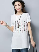 Damen Stickerei Einfach Lässig/Alltäglich T-shirt,Rundhalsausschnitt Kurzarm Nylon