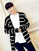 Men's Going out Casual/Daily Regular Cardigan,Striped Round Neck Long Sleeves Polyester Spandex Others Spring Fall Thin Micro-elastic