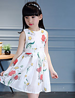 Girl's Casual/Daily Floral Dress,Cotton Summer Fall Sleeveless