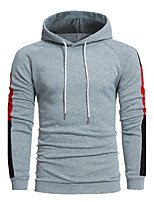 Men's Sports Casual/Daily Simple Hoodie Color Block Patchwork Hooded Micro-elastic Cotton Acrylic Long Sleeve Fall Winter