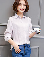 Women's Casual/Daily Simple Shirt,Solid Striped Shirt Collar Long Sleeves Cotton