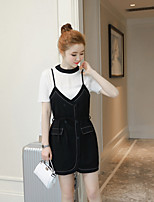 Women's Going out Soak Off Summer T-shirt Pant Suits,Solid Round Neck Short Sleeve