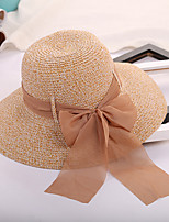 Women's Straw Straw Hat Sun Hat,Casual Hats Solid Summer Pure Color Bow