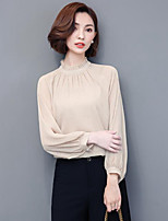 Women's Casual/Daily Simple T-shirt,Solid V Neck Long Sleeves Polyester