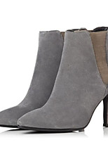 Women's Shoes Leather PU Winter Basic Pump Combat Boots Boots For Casual Black Gray