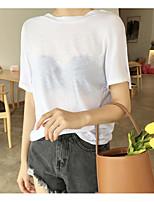 T-shirt Da donna Per uscire Sensuale Semplice Tinta unita Rotonda Cotone Manica corta