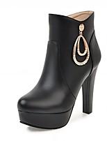 Для женщин Ботинки Удобная обувь Оригинальная обувь Ботильоны Весна Зима Дерматин Повседневные Стразы На толстом каблуке Белый Черный