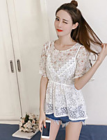 Women's Casual/Daily Simple Blouse,Print Round Neck Short Sleeves Polyester
