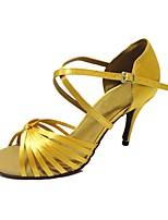Da donna Balli latino-americani Raso Sandali Esibizione Incrociato A stiletto Giallo Chiaro 7,5 - 9,5 cm Personalizzabile