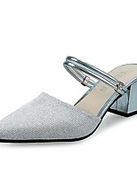 Women's Heels Comfort PU Summer Casual Dress Block Heel Silver 2in-2 3/4in