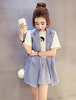 Women's Casual/Daily Simple Summer Shirt Pant Suits,Solid Peter Pan Collar Sleeveless