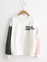Tee-shirt Femme,Couleur Pleine Lettre Sortie Décontracté / Quotidien simple Mignon Chic de Rue Eté Automne Manches Longues Col Arrondi
