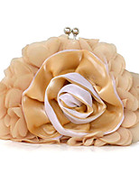 Women Bags All Seasons Polyester Evening Bag Floral Pleated Ruffles for Wedding Event/Party Casual Formal Office & Career Black Beige