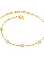 Femme Bracelet de cheville/Bracelet Zircon Plaqué or Mode Bijoux de Luxe Forme d'Etoile Forme de Ligne Bijoux Pour Mariage Soirée