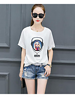 Women's Casual/Daily Simple T-shirt,Print Letter Round Neck Short Sleeves Cotton