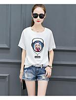 Tee-shirt Femme,Imprimé Lettre Décontracté / Quotidien simple Manches Courtes Col Arrondi Coton