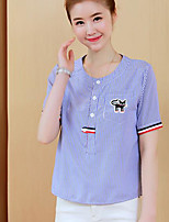 Women's Casual/Daily Simple Shirt,Striped Round Neck Short Sleeves Cotton Others