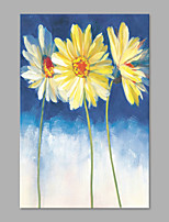IARTS® Hand Painted Modern Abstract A Bunch of White Tulip Blooming on Canvas Stretched Frame Handmade Oil Painting For Home Decoration Ready To Hang