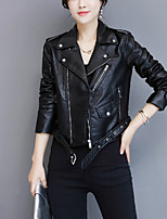 Women's Going out Casual/Daily Street chic Fall Trench Coat,Solid Shirt Collar Long Sleeve Regular Polyester