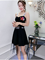 Women's Club Sexy Summer T-shirt Skirt Suits,Embroidery Strap Sleeveless