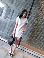 Women's Going out Simple Summer T-shirt Pant Suits,Solid V Neck Short Sleeve Micro-elastic