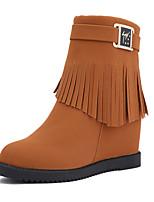 Women's Heels Formal Shoes Fall Winter PU Casual Dress Tassel Wedge Heel Brown Black 2in-2 3/4in