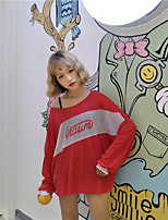 Women's Casual/Daily Simple T-shirt,Letter Round Neck Long Sleeves Cotton