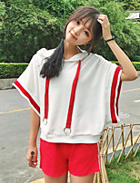 Women's Casual/Daily Simple Summer T-shirt Pant Suits,Solid Hooded Short Sleeve