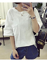 Women's Casual/Daily Sexy T-shirt,Solid Round Neck Short Sleeves Cotton