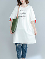 Women's Casual/Daily Simple T-shirt,Letter Round Neck Half Sleeves Cotton