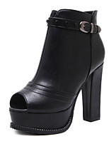 Women's Boots Bootie Fall Leatherette Casual Outdoor Dress Buckle Zipper Chunky Heel Black 4in-4 3/4in