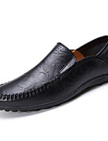Men's Loafers & Slip-Ons Moccasin Comfort Summer PU Casual Ruched Flat Heel Brown Yellow Black Flat