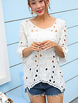 Women's Going out Cute Shirt,Solid Round Neck 3/4 Length Sleeves Cotton