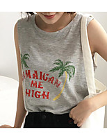 Women's Casual/Daily Simple T-shirt,Print Round Neck Sleeveless Cotton