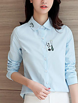 Women's Casual/Daily Simple Shirt,Print Shirt Collar Long Sleeves Cotton Others