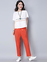 Women's Casual/Daily Simple Summer T-shirt Pant Suits,Print Round Neck Short Sleeve