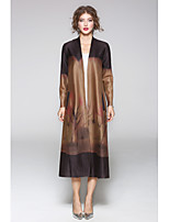 JOJO HANS Women's Casual/Daily Simple Fall Trench CoatSolid Print V Neck Long Sleeve Long Cotton Polyester