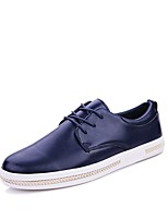 Men's Oxfords Driving Shoes Comfort Light Soles Real Leather PU Leather Spring Fall Casual Office & Career Lace-up Flat HeelBlue Brown