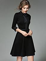 Damen Hülle Kleid-Ausgehen Lässig/Alltäglich Einfach Street Schick Druck Rundhalsausschnitt Mini 3/4 Ärmel Polyester Frühling Herbst