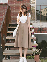 Women's Going out Simple Summer T-shirt Skirt Suits,Solid Round Neck Short Sleeve
