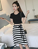 Women's Casual/Daily Simple Summer Tank Top Skirt Suits,Striped Round Neck Short Sleeve