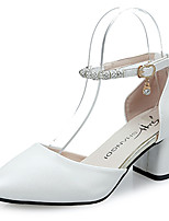 Women's Heels Comfort Spring Summer PU Casual Dress Buckle Chunky Heel Gold White 1in-1 3/4in