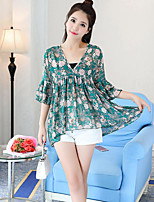 Women's Casual/Daily Simple Blouse,Floral Round Neck Short Sleeves Cotton