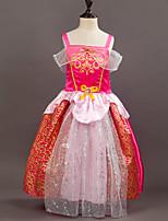 Mädchen Kleid Einfarbig Bestickt Blumen Baumwolle Kunstseide Polyester Ganzjährig Ärmellos