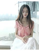 Dames Eenvoudig Blouse,Casual/Dagelijks Effen Diepe V-hals Korte mouw Katoen Polyester