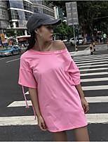 T-shirt Da donna Casual Moda città Tinta unita Rotonda Cotone Mezza manica